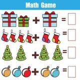 Gioco educativo di per la matematica per i bambini Conteggio delle equazioni Foglio di lavoro dell'aggiunta Tema di natale illustrazione di stock