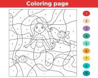 Gioco educativo per i bambini Colore dai numeri illustrazione di stock