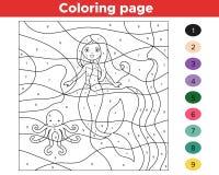 Gioco educativo per i bambini Colore dai numeri royalty illustrazione gratis