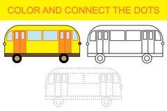 Gioco educativo per i bambini Colori e colleghi i punti per creare il bus illustrazione vettoriale
