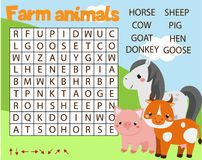 Gioco educativo per i bambini Il puzzle di ricerca di parola scherza l'attività Tema degli animali da allevamento Apprendimento d illustrazione vettoriale