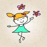 Gioco felice dei bambini del fumetto del disegno della mano Fotografie Stock
