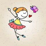 Gioco felice dei bambini del fumetto del disegno della mano Fotografia Stock