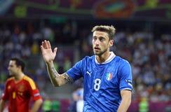 Gioco finale 2012 dell'EURO dell'UEFA Spagna contro l'Italia Immagine Stock