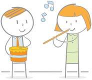 Gioco flauto e del tamburo Fotografie Stock Libere da Diritti