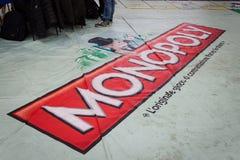 Gioco gigante di monopolio alla convenzione di Festival del Fumetto a Milano, Italia Immagini Stock