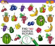 Gioco identico di frutti del ritrovamento due per i bambini Fotografie Stock Libere da Diritti
