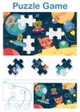 Gioco mancante di puzzle del pezzo con gli animali stranieri dello spazio Fotografie Stock Libere da Diritti