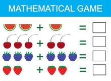 Gioco matematico per i bambini Imparando aggiunta per i bambini, contante attività Illustrazione di vettore royalty illustrazione gratis