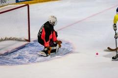 Gioco nel mini hockey con la palla Fotografia Stock Libera da Diritti