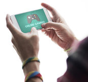 Gioco online che gioca concetto di strategia di Internet di hobby immagini stock