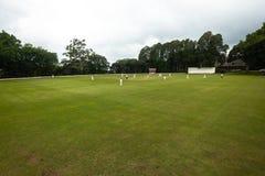 Gioco ovale dei giocatori del campo del cricket Fotografie Stock