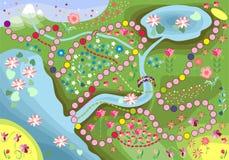 Gioco per i bambini - viaggi attraverso il paese floreale Immagini Stock