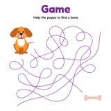Gioco per l'età della scuola materna dei bambini labirinto o labirinto per i bambini aiuti il cucciolo a trovare un osso Strada a illustrazione vettoriale