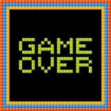 Gioco sopra il messaggio scritto in blocchetti del pixel Immagini Stock