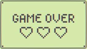 Gioco sopra il retro pixel Art Style Message sulla vecchia scuola Arcade Machine fondo di animazione 4K royalty illustrazione gratis