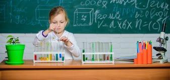 Gioco sveglio dell'allievo della ragazza con le provette ed i liquidi variopinti Esperimento chimico della scuola Istruzione scol fotografia stock libera da diritti