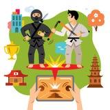 Gioco virtuale astratto del cellulare di combattimento di vettore Illustrazione variopinta del fumetto di stile piano illustrazione vettoriale