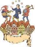 Giocoliere medievali Stile di Egraved fotografia stock