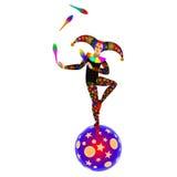 Giocoliere sulla palla trucco del circo Fotografia Stock Libera da Diritti