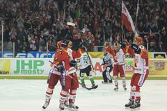 Gioia del hokey - Slavia Praga contro Mlada Boleslav Immagini Stock