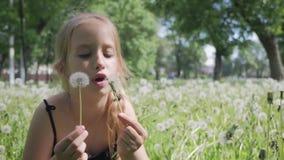 Gioia della primavera - dente di leone di salto della ragazza adorabile Bella ragazza sveglia nel giorno soleggiato al fondo verd stock footage