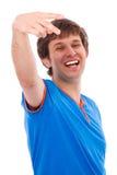 Gioia e felicità con il gesto di mano Immagini Stock Libere da Diritti