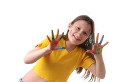 Gioia. Ragazza del Preteen che gioca con i colori Fotografia Stock