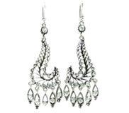 Gioielli degli orecchini con i cristalli luminosi Immagini Stock