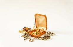 Gioielli del ` s della donna Fondo d'annata dei gioielli Belle fibule e collana luminose del cristallo di rocca in un contenitore Fotografia Stock