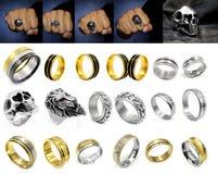 Gioielli - grande insieme degli anelli fotografia stock libera da diritti