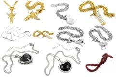 Gioielli - grande insieme delle collane Fotografie Stock