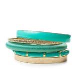 Gioielli, i cinque braccialetti delle donne eleganti, isolati Fotografia Stock