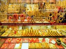 Gioielli orientali nel grande bazar, Costantinopoli dell'oro Immagine Stock Libera da Diritti