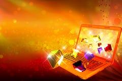 Gioielli scintillanti che escono da un computer Fotografia Stock