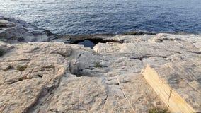 Giola -自然水池在Thassos海岛,希腊 库存图片