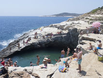Giola, Natural Pool, Thassos. Giola is a natural rocky pool that is located in the region of Astris. The height of the rocks reaches up to 8m. Thassos is the Royalty Free Stock Image