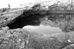 Giola - naturlig pöl i den Thassos ön, Grekland Arkivbilder
