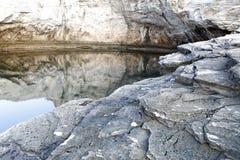 Giola - naturlig pöl i den Thassos ön, Grekland Arkivfoto