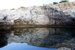 Giola - naturlig pöl i den Thassos ön, Grekland Fotografering för Bildbyråer