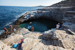 Giola, Thassos, Natural basin .Northern Greece June 26th. Giola, Thassos, Natural basin .Giola lagoon Thassos. Natural sea lagoon carved in rocks, popular in royalty free stock image