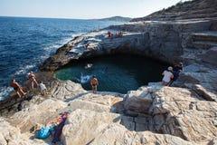 Giola, Thassos, Naturalny basen. Północny Grecja Czerwiec 26th obraz royalty free