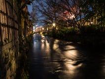 Gion Canal vid natt royaltyfria foton