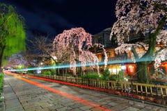 Gion en Kyoto con el rastro del tráfico y el árbol de Sakura Foto de archivo libre de regalías