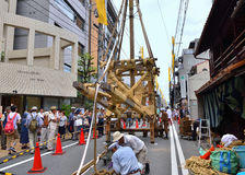 Gion festival, building the floats by rope work, Kyoto Japan. Royalty Free Stock Images