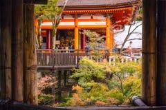 Famous veranda at Kiyomizu-dera Buddhist Temple in Kyoto, Japan. Gion, Kyoto, Japan -November 2, 2018: Detail of the famous Kiyomizu-dera main temple with its stock images