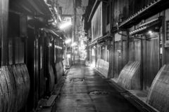 Gion le vieux centre antique de Kyoto la nuit, Japon photo stock