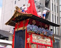Gion matsuri chariot. Detail with men band playing traditional music during the biggest Japanese festival-Kyoto,Japan Royalty Free Stock Photos