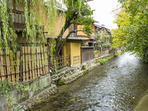 Gion old houses and stream. In Kyoto, Japan stock photo
