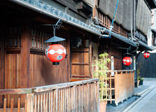 Gion. Red lanterns at the entrance of the old houses in Gion District of Kyoto Stock Photo